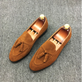 Los hombres de lujo de la marca mocasines de cuero de gamuza zapatos causales de la celebridad borla estilo mocasín zapatos forro de cuero caballeros
