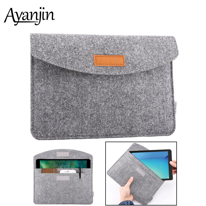 New Ultra-slim Wool Felt Tablet Sleeve Bag For Ipad Air 2 3 Case Pro 9.7 10.5 11 2017 2018 Cover For Huawei Samsung Lenovo Tab