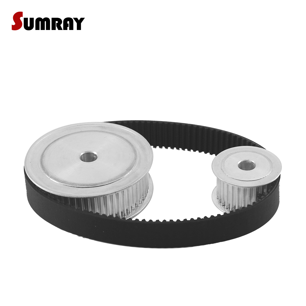 SUMRAY HTD3M Timing Pulley Belt Kit Reduction 1:2 3M 30T 60T Pulley Wheel 16mm Belt Width HTD3M-339 Rubber Drive Belts купить недорого в Москве