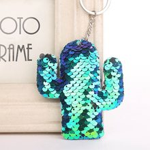 Plant Cactus Keychain Glitter Pompom Sequins Key Ring Gifts For Women Llavero Charms Car Bag Accessories Key Chain Girft(China)