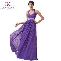 Grace Karin Beadings Purple Chiffon Formal Long Evening Dresses Gown Brand Plus Size Backless Halter Women