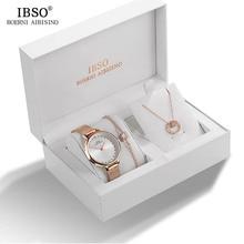 IBSO Brand 2019 Crystal Quartz Watches Women Bracelet Necklace Set Wristwatches Metal Strap Ladies  Gift Box Watch
