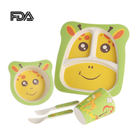Children's Dinnerware Bowl Plate Spoon Fork Cup Five piece Tableware Babys Food Feeding Dishware Set Separate Lunch Box