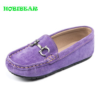 2019 New Children Shoes Boys Loafers Purple Blue Slip on Kids Girls Shoes Suede Leather Casual Baby Loafers Kids Walking Shoes