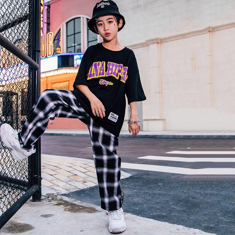 Hip Hop Clothes For Kids New Boy Black T-Shirt Lattice Pants Suit Jazz Dance Costumes Street Dance Stage Costume Outfits DQS2143