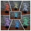 Marisa Kirisame 3D dos desenhos animados LED Night Light mudança de 7 Cores 3D Brinquedo Colorido Nightlight Lâmpada de Cabeceira Presente de Natal