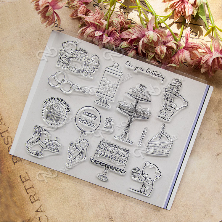 Happy Birthday Cake Bear Transparent Clear Silicone Stamp/Seal for DIY scrapbooking/album Decorative clear stamp sheets  A134