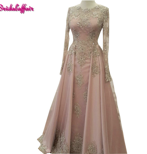 Modest Long Sleeve Blush Pink Prom Dresses Wear Lace Appliques ...