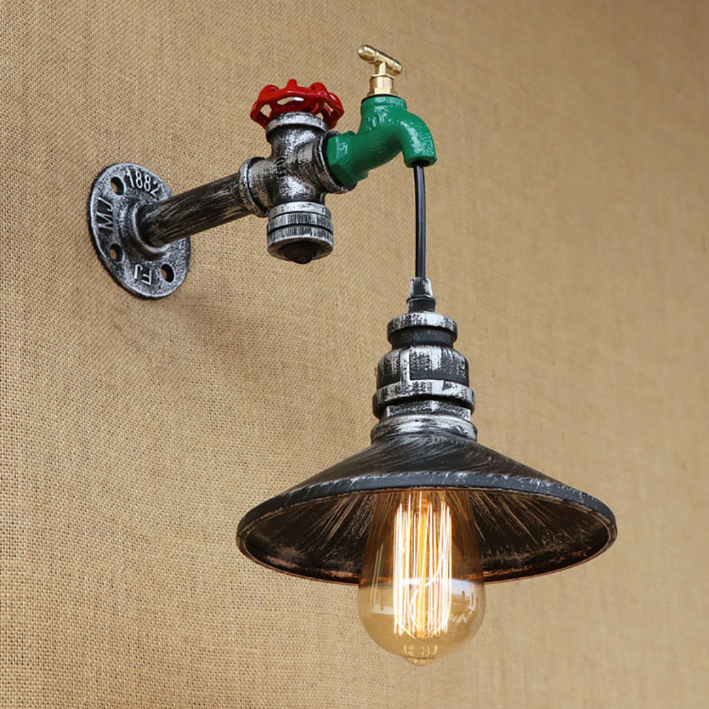 Retro loft  iron with switch Steampunk Water pipe vintage wall lamp E27 110V 220V led lights for cafe bar bedroom living room