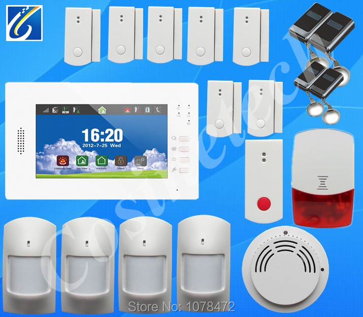 868MHZ FSK GSM Alarm System with menu in English/German/Italian/Dutch/French/Czech/Finnish  for option,Touch screen alarm system gsm alarm system with multi language english german italian dutch menu for option home security 7 inch touch screen home alarm