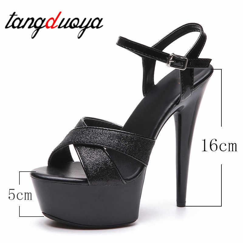 Sandalet Kadın Ayakkabı 2019 Yeni Yaz 16 cm Yüksek Topuklu Su Geçirmez Kalın Alt Pul Ince Topuklu Modeli Araba Gösterisi gece kulübü Sandalet