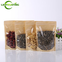 50pcs One Side Clear Kraft Paper Bag Snack Nuts Beans Packaging Paper Gift Pouch Stand Up