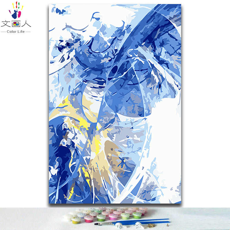 DIY Coloring paintings by numbers abstract sky landscape pictures paints by numbers with colors kits for adults drawing framed
