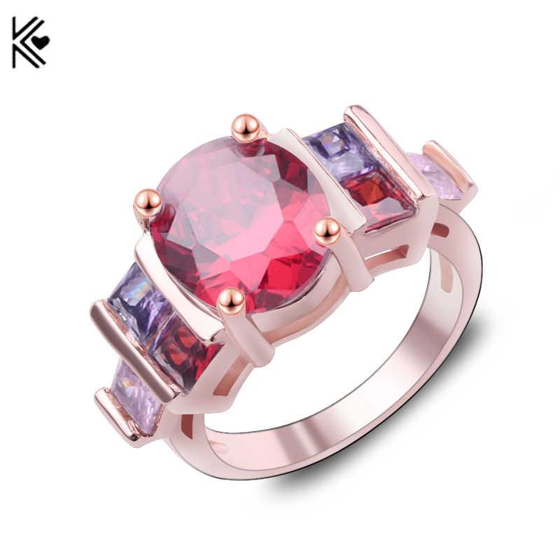 หญิงสีแดงรูปไข่แหวนแฟชั่นสีขาวและ Rose Gold Filled เครื่องประดับแหวนแต่งงาน Vintage หินวันเกิดวาเลนไทน์ของขวัญ