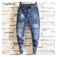 2019 Spring New Men's Plus Size Jeans Fashion Casual Hip Hop Loose Denim Jeans Black Blue Trousers Harem Pants Good Quality
