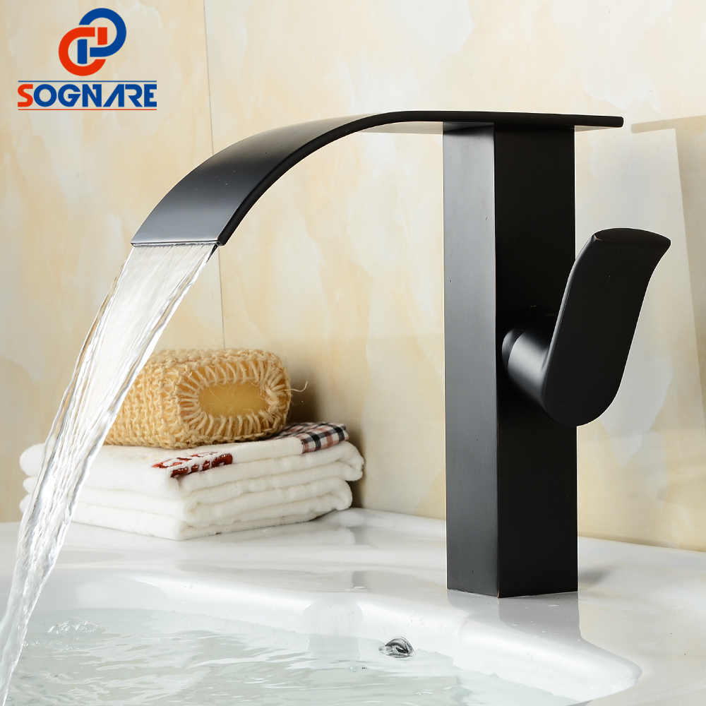цена на SOGNARE Waterfall Bathroom Basin Faucet Deck Mounted Cold and Hot Bathroom Sink Faucet Black Waterfall Water Mixer Taps Crane