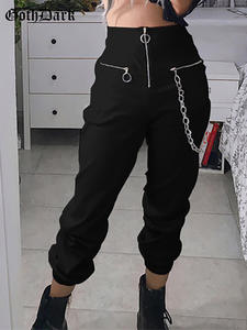 Goth Dark women casual harem pants black trousers capris