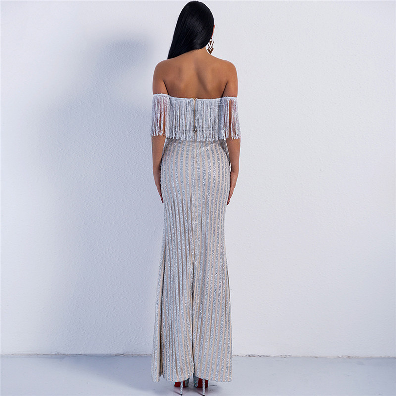 À Paillettes Sexy V Split Robe Haut Gland Élégant gold Femme Épaule 2019 Col Off Or De Maxi White D'été En tQrdCsh