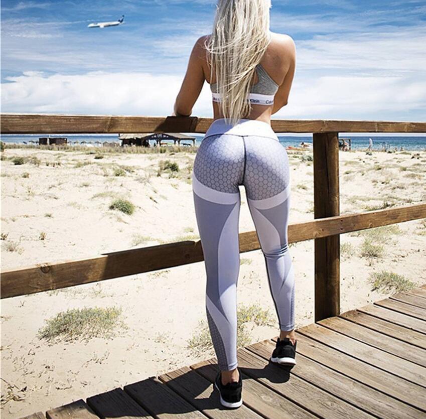 Women Trousers Casual Gradient Patchwork Fitness Leggings Print Slim Mid Waist Sexy Long Pants Work Out Push Up Leggins Black