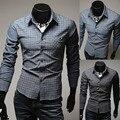 Бренд весна шотландка пэчворк свободного покроя мужские рубашки приталенный Fit длинный рукав социальный Camisas Masculinas для человека M-XXL