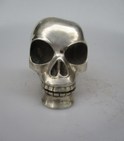 Asian Antiques Tibet Siliver Skull Prayer Auspicious Metal Movable Chin Statue Free Shiping