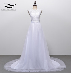 Solovedress A Line Lace Beach Wedding Dress 2018 Scoop Neck White Bridal Gown Tulle Skirt Chapel Train vestido de noiva SLD-228 3