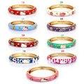 Kid's/Children 18KGP Hello Kitty Enamel Cloisonne Cuff Bangle Bracelet Wholesale Lot 12Pcs Excellent Quality!!! Cheap Jewelry