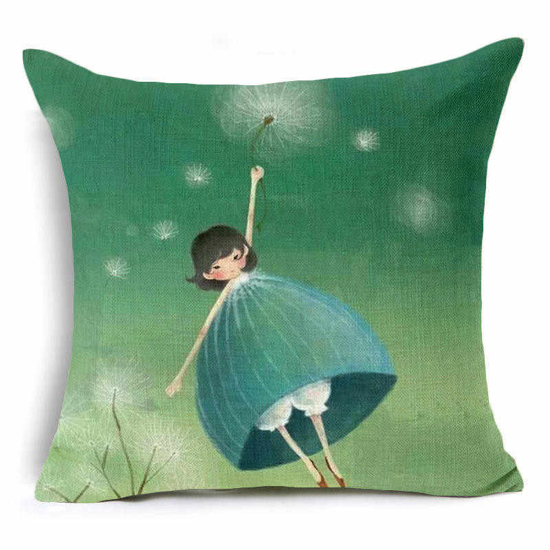Dandelion menina girassol Capa de Almofada gato lindo linha Dandelion fronha sofá Casa Decorativo fronha de Algodão almofadas
