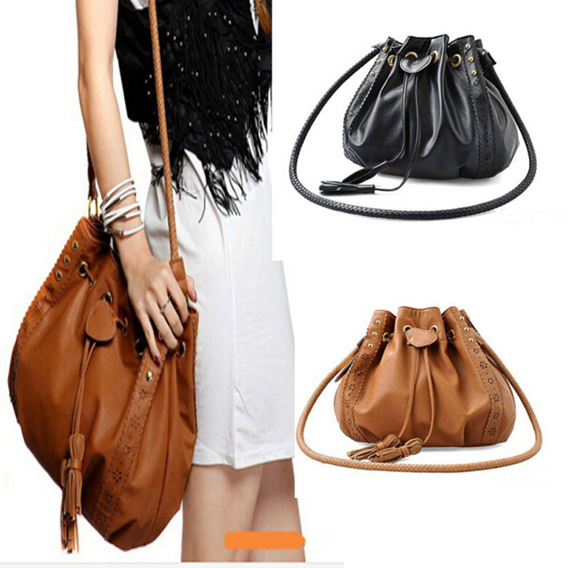 2016 fashion braided drawstring handbag shoulder bag Messenger Handbag Women messenger bags Shoulder bag Women handbag tassel vy