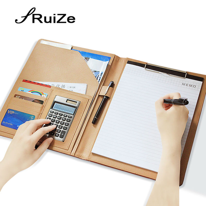 RuiZe Faux leather folder organizer padfolio A4 file folder for document Multifunction planner with calculator office stationery ppyy new a4 zipped conference folder business faux leather document organiser portfolio black