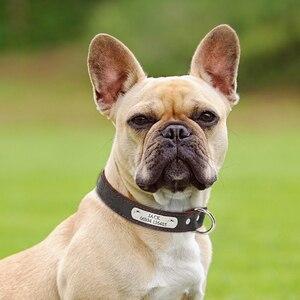 Image 2 - Collar personalizado de piel auténtica para perro, placa con nombre para cachorro, Collar ajustable libre, etiquetas de identificación de mascota grabadas para perros pequeños y medianos