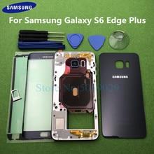 Carcasa completa para Samsung Galaxy S6 Edge Plus G928 G928F, carcasa trasera con bisel, Marco medio + S6 + adhesivo para lentes delanteros