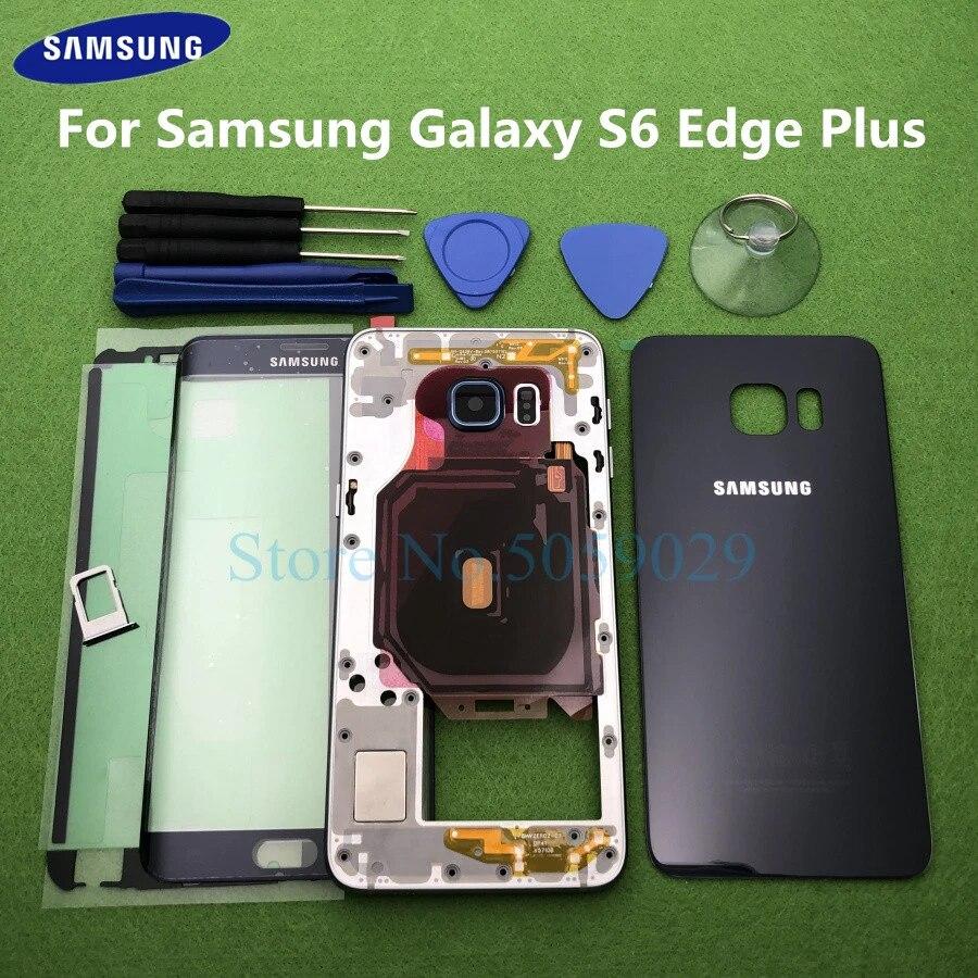 Coque pour Samsung Galaxy S6 Edge Plus G928 G928F, boîtier complet, cadre central, arrière, S6, avant, lentille en verre, outils, autocollant