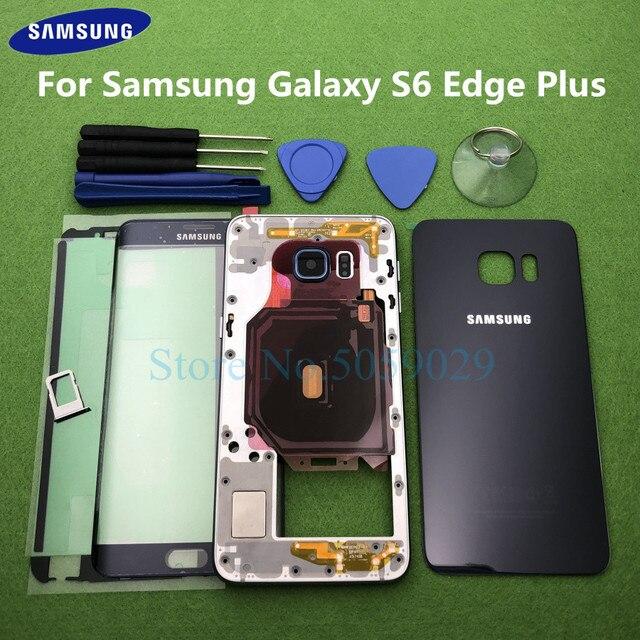 עבור סמסונג גלקסי S6 קצה בתוספת G928 G928F מלא שיכון מקרה Bezel התיכון מסגרת חזרה כיסוי + S6 + מול זכוכית עדשת כלים מדבקה