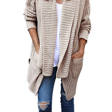Long Cardigan Women Sexy Sweater Sleeve Loose Knitting Solid Plus Size Jumpers Pull Femme