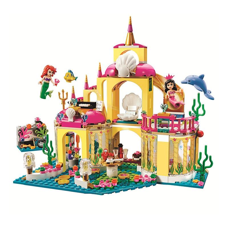 цены Princess Mermaid Ariel Undersea Palace Buildable Royal Celebration Boat Building Block Compatible with Legoe 41063 Kids Toys