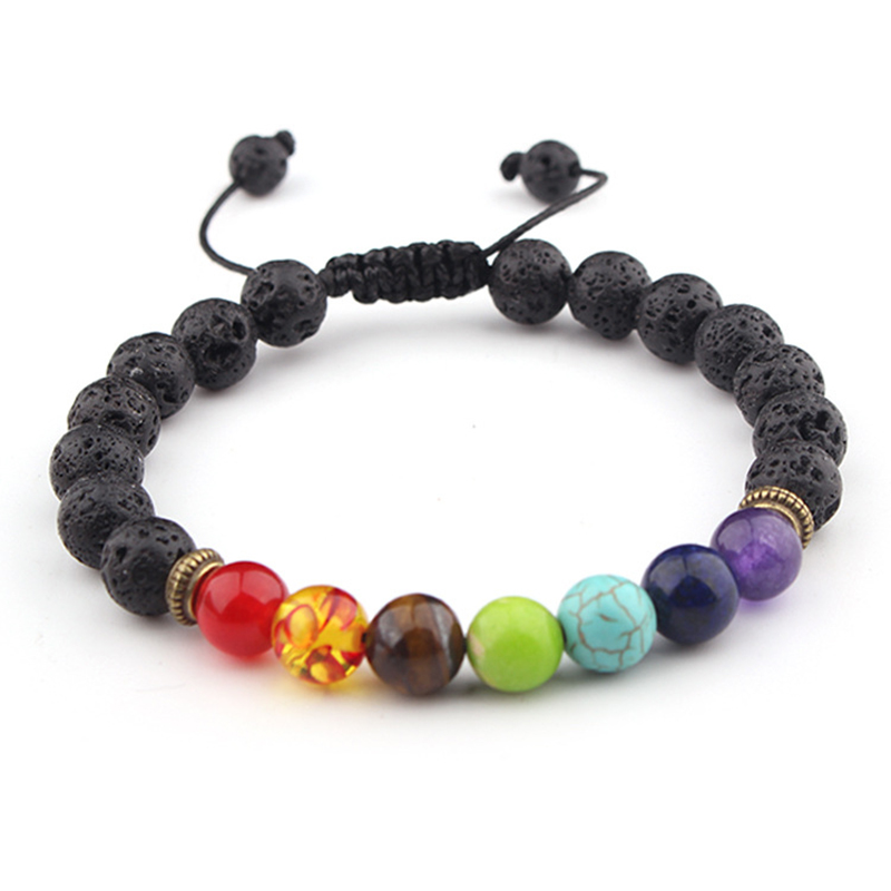 Natural stone 8mm volcanic stone yoga energy bracelet volcanic stone seven chakra braided bracelet jewellery