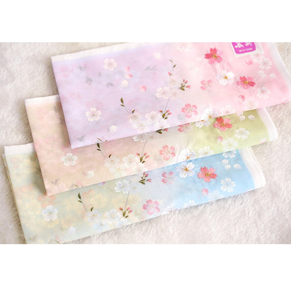 Handkerchiefs 48*48cm Women's Soft Nice Cotton Kerchiefs High Grade Multi-use Square Hankies Embroidery Sakura Best Gifts SY1899