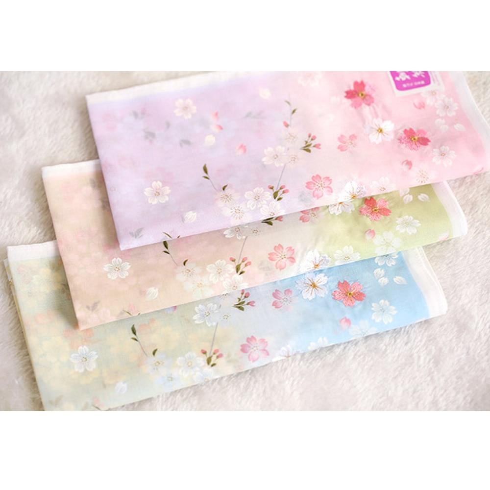 Handkerchiefs 48*48cm Women's Soft Nice Cotton Kerchiefs High Grade Multi-use Square Hankies Embroidery Sakura Best Gifts SY1899