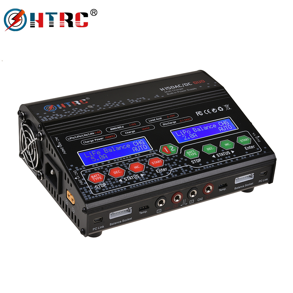 HTRC H150 RC Charger AC DC DUO 300W 12Ax2 Dual Port High Power RC Balance Discharger for Lilon LiPo LiFe LiHV Nimh Nicd BatteryHTRC H150 RC Charger AC DC DUO 300W 12Ax2 Dual Port High Power RC Balance Discharger for Lilon LiPo LiFe LiHV Nimh Nicd Battery