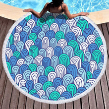 Boho Beach Towels Printed Blue Geometric Block Towel Microfiber Round Fabric Bath For Living Room Home Decorative