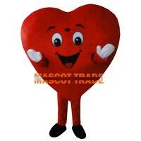 Красный костюм талисмана для взрослых, размер для взрослых, необычный костюм талисмана в виде сердца, бесплатная доставка