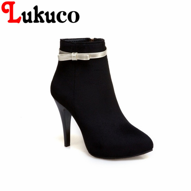 NEW Lukuco pure color women pointed toe sweet butterfly-knot boots PU made high thin heel zip shoes with short plush inside