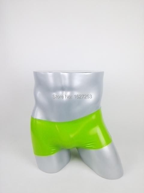 Produto Do Sexo Do látex Látex Roupa Interior Dos Homens do Pugilista Sexy Lingerie Sexy Babydoll Erótico Cekc Handmade Homens maçã verde Calças De Látex