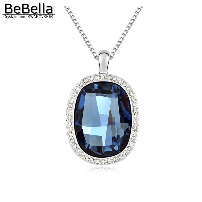 BeBella большой синий хрустальный каменный кулон ожерелье сделано с кристаллами от Swarovski модное ожерелье ювелирные изделия для женщин подарок для девочек - Окраска металла: Montana