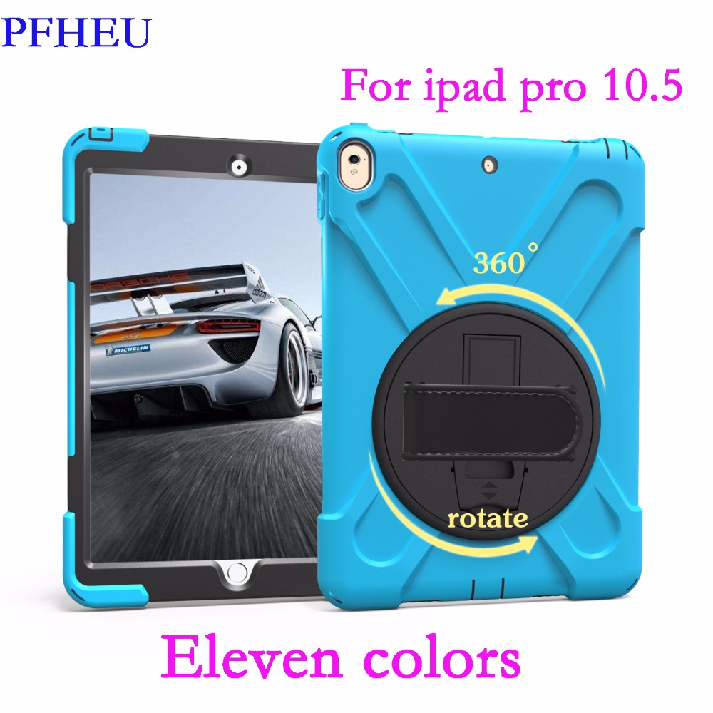 PFHEU Case For Apple iPad pro 10.5 inch Case Kids Safe Shockproof Heavy Duty Silicone Hard Cover kickstand Shell Case Cover