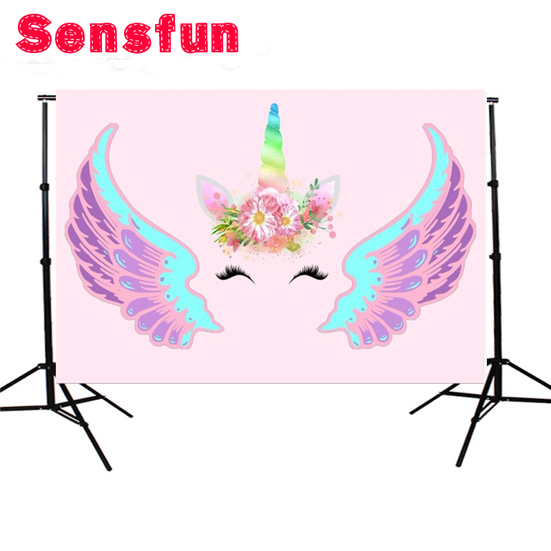 Polyester Pink Wall Unicorn Wings Mask Head Custom Photo Backdrop Photography Background Studio Photo Props 7x5ft sensfun where the wild things are dessert table backdrops custom photo studio backdrop background vinyl 7x5ft