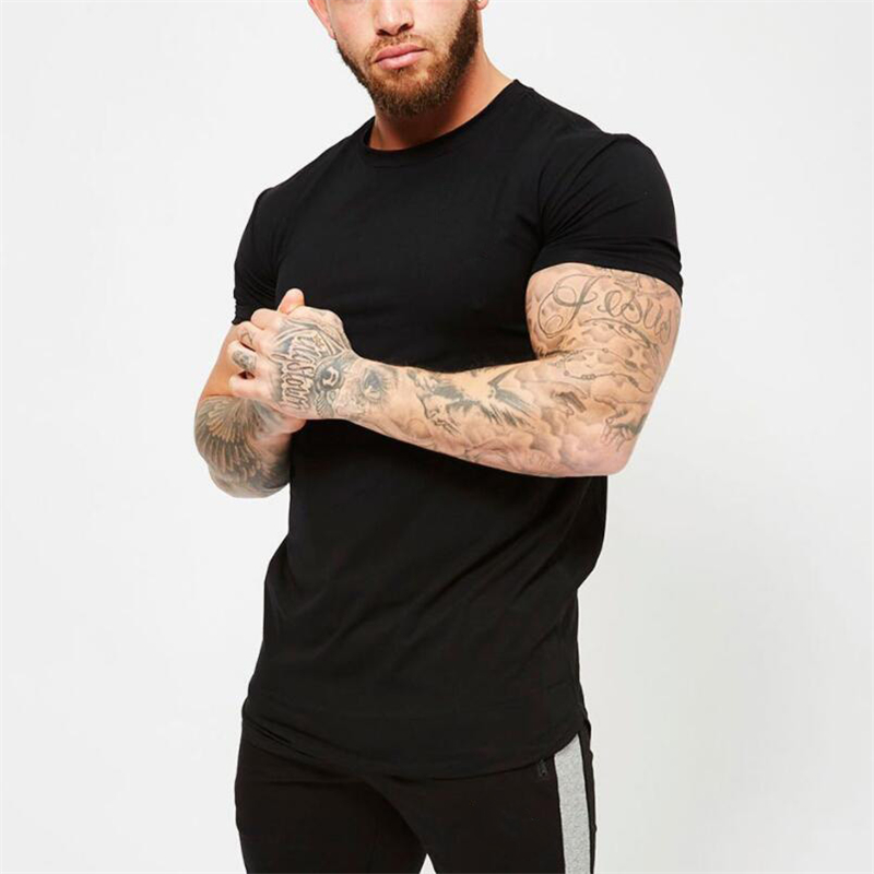 Fitness Clothing 2018 Summer Fashion Solid Short Sleeve T Shirt Men Cotton O-neck Silm Fit Casual Men T-shirts Plus Size M-2XL