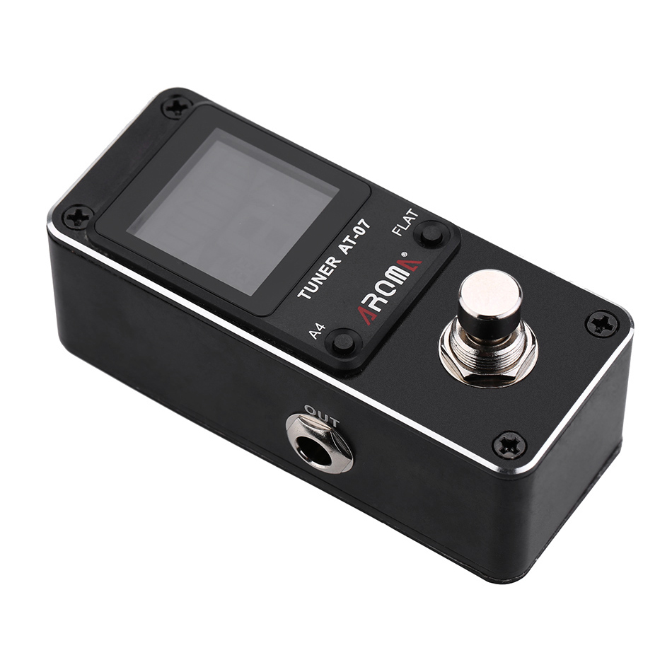 aroma at 07 mini foot guitar tuner effect pedal guitarra chromatic tuning metal shell hd display. Black Bedroom Furniture Sets. Home Design Ideas