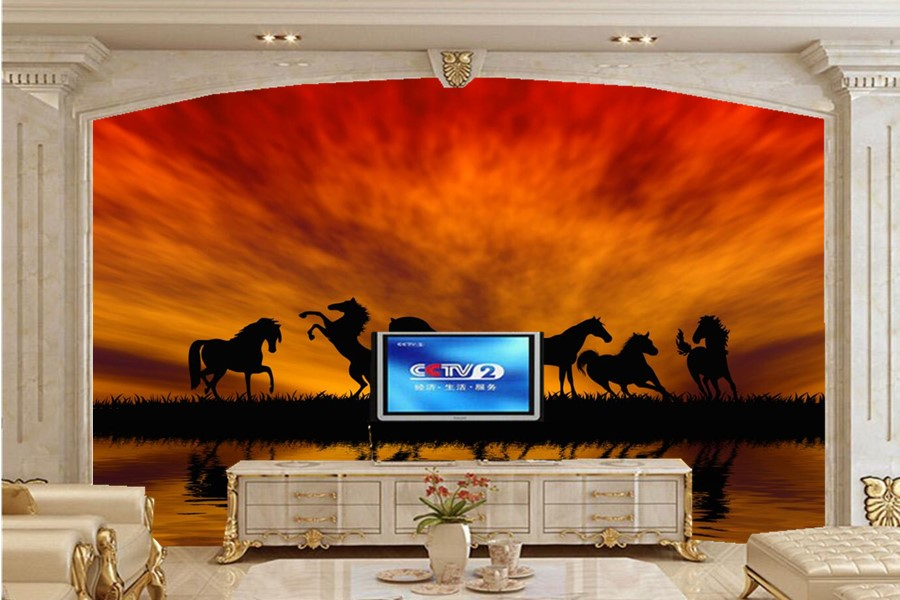 Custom Horses Sunrises and sunsets Jump Silhouette Animals wallpaper,living room sofa tv wall bedroom waterproof wallpaper